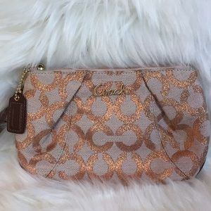 NWOT Coach Monogram Rose Gold Wristlet
